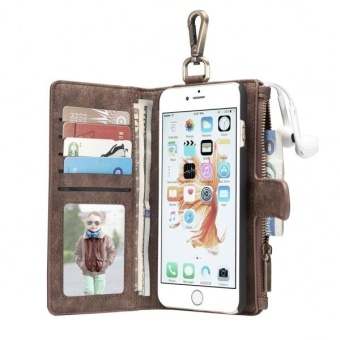 Harga CaseMe For IPhone 6 and 6s Multifunctional Leather Case With Detachable Magnetic PC Back Protective Case and 4 Card Slots and 2 Cash Slots and 1 Zipper Wallet and 1 Photo Frames and 1 Hook (Brown) - intl
