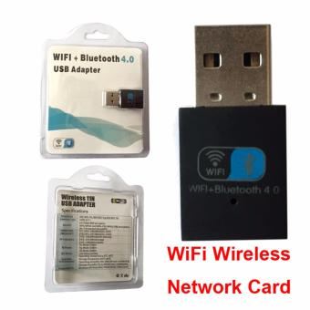 Harga Bluetooth 4.0 / WiFi Combination USB Dongle Wifi Card Wlan Antenna Support HD IPTV/STB(Black) - intl