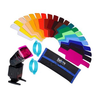Harga Selens Universal Flash Gels Lighting Filter + Two gels bands Kits for Flashlight