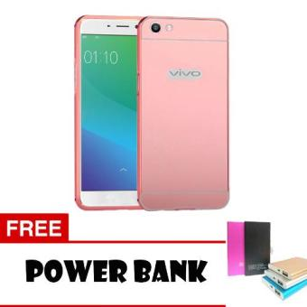 Harga Case Metal Vivo Y55 Bumper Mirror Slide - Rose Gold + Free PowerBank