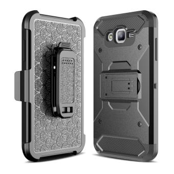 Harga for Samsung Galaxy J7(2015) [Steel Clamp] GuluGuru Heavy Duty Advanced Armor Belt Clip Holster With Built-in Kickstand Cell Phone Drop Protection Case Cover - intl