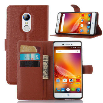 Harga Wallet Flip Leather Case For ZTE Blade A711/ZTE Blade X9 (Brown) - intl