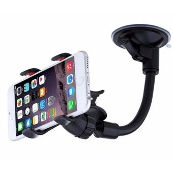 Harga 360° Rotation Car Mount Windshield Phone Holder For Most Phone Double Clip Car Mount Car Holder - intl