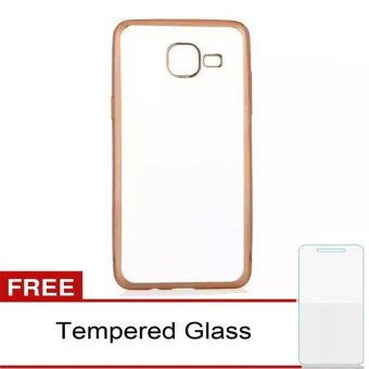 Case Ultrathin Shining Chrome for Samsung Galaxy J1 mini - Gold + Gratis Temperd glass