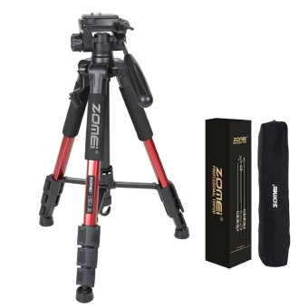 Harga ZOMEI Q111 55-Inch Professional Aluminium Camera Tripod Camcorder Stand with PanHead Plate for DSLR Canon Nikon Sony DV Video (Red) - intl