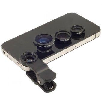 Universal Clip Lens 3 in 1 - Fish Eye / Macro / Wide Angle - Hitam