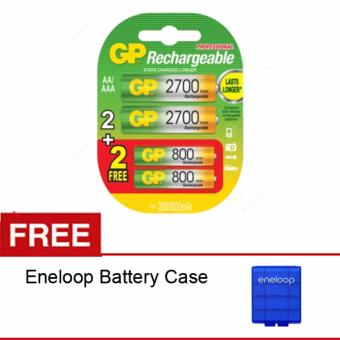 Harga GP Batteries Rechargeble Combo AA 2700mAH (BP2) + AAA 800mAH (BP2) - Free Eneloop Case