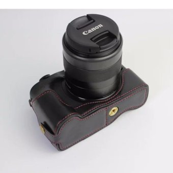 Harga PU Camera Hard Bag Half Body Bottom Case Cover for Canon EOS M3 - intl