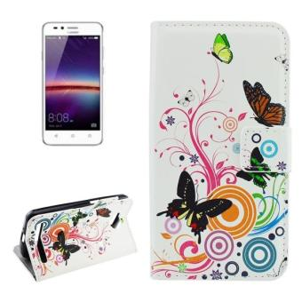Harga For Huawei Y3 II White Butterfly Pattern Horizontal Flip Leather Case With Holder and Card Slots and Wallet - intl