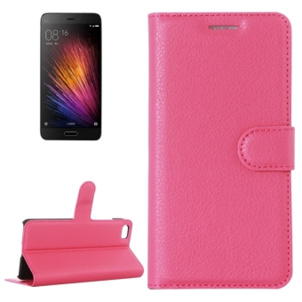Harga Sunsky Leather with Holder and Card Slots and Wallet Flip Case for Xiaomi Mi 5 (Magenta)