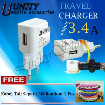 Harga Lucky - Adapter Charger USB Unity / Kepala Charger Universal / Charger Power Bank, HP - Travel Charger Unity 3.4A 1port for Smartphone Plus Free Kabel Tali Sepatu 3M-Random-1 Pcs