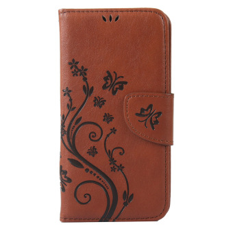 Moonmini Flower Pattern PU Leather Wallet Card Slots Flip Stand Case Cover for Lenovo S850 (