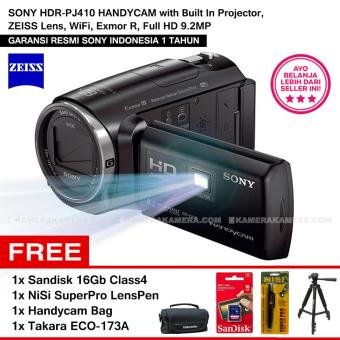 Harga Sony Hdr-Pj410 Handycam With Built In Projector, Zeiss Lens, Wifi, Exmor R, Full Hd 9.2Mp + Sandisk 16Gb + Nisi Lenspen + Handycam Bag + Tripod Takara Eco-173A(Black)