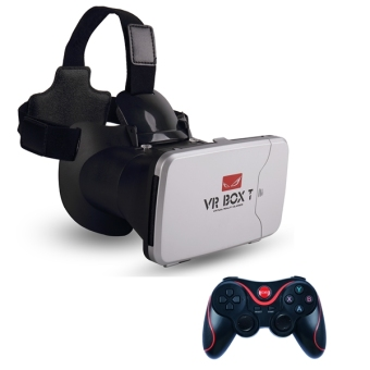 Harga Vr Box T play more VR game with fingertip control 3d vr glasses riem 3 cardboard (VBT+T3)