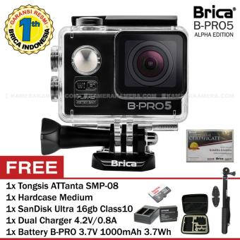 Harga BRICA B-PRO 5 Alpha Edition (Black) + SanDisk Ultra 16gb Class10 + Battery B-Pro + Dual Charger + Tongsis SMP-08 + HardCase Medium
