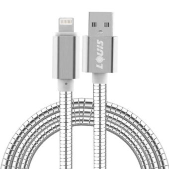 Harga LOUIS 1m Stainless Steel + Aluminum Alloy 2.1A 8 Pin To USB 2.0 Sync Data / Charging Cable For IPhone 7 and 7 Plus, IPhone 6s and 6s Plus, IPhone 6 and 6 Plus, IPad Air 2 and Air (Silver) - intl