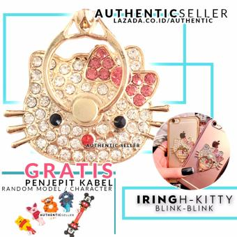 Harga Authentic Luxury Iring Blink Blink Hello Kitty HK Ring Grip Stand Smartphone Gratis Penjepit Kabel Karakter