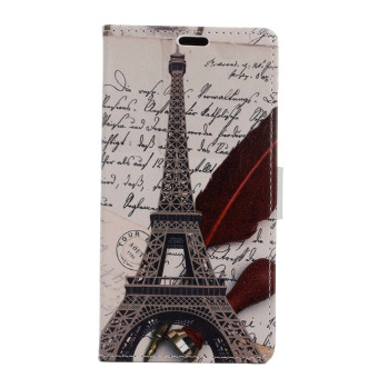 With Card Slots and Magnetic Closure PU Leather Case for LG X Power (Eiffel Tower)