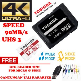 Harga TOSHIBA Micro SD Card With Adapter 32GB Class10 UHS-3 90MB/S, Micro SD 32GB memory card 1080p full-HD 3D 4K Video Card + Gratis Reader 2in1 for Micro & Sdhc + Gantungan Tali Karakter Lucu