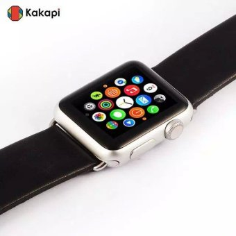 Harga KAKAPI Top Layer Genuine Leather Watchband for Apple Watch 38mm with Connector - Black - intl
