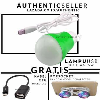 Harga Authentic Bohlam 5 Watt Kabel USB Emergency LED Bulb - Lampu darurat Gratis Pop Socket / Popsockets + Kabel OTG Micro USB (On the Go)