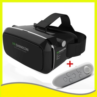 Harga VR SHINECON 3D realitas maya kacamata VR Box headphone + Gamepad Bluetooth (hitam )