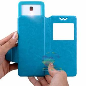 Harga Leather Windows View Case For Hisense Kingkong 2 Smartphone Slide Up Case Universal Flipshell / Universal Flipcover / Universal Flip Cover Kulit / Universal Sarung Case / Universal Sarung Handphone - Biru
