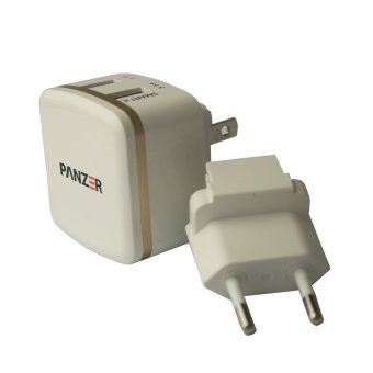 Harga Panzer Travel Charger 2 USB Ports with Smart IC dan Fast Charging 3.5A - Putih