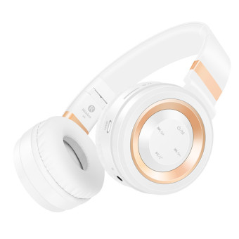 Sound Intone P6 Bluetooth nirkabel di atas Headphone telinga (putih/emas)