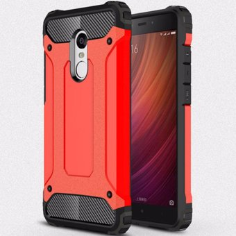 Harga for Xiaomi Redmi Note 4 [Steel Armor] 2in1 Carbon Fibre Premium Soft TPU + Hard PC Hybrid Back Cover Cell Phone Armor Case Shockproof - intl