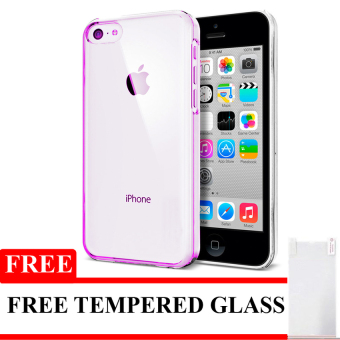 Harga Softcase Ultrathin Untuk Iphone 5 / 5S / SE - Pink Clear + Free Tempered Glass