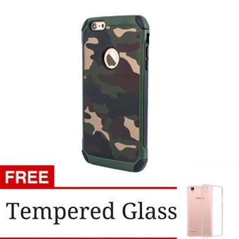 Harga Case Slim Army Protection Hard Case for iPhone 6 Plus + Free Tempered Glass - Green Army