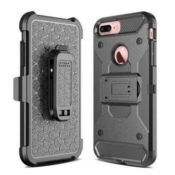 Harga for Apple iPhone 7 Plus [Steel Clamp] GuluGuru Heavy Duty Advanced Armor Belt Clip Holster With Built-in Kickstand Cell Phone Drop Protection Case Cover - intl