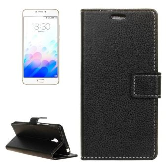Harga Meizu M3 Note Litchi Texture Horizontal Flip Leather Case With Holder and Card Slots and Wallet(Black) - intl