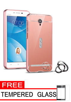 Harga Case for Vivo Y28 Aluminium Bumper With Mirror Backdoor Slide - Rose Gold + Gratis Tempered Glass