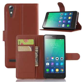 Harga Litchi Wallet Leather Case for Lenovo A6010 / A6010 Plus / A6000 Plus / A6000 - Brown - intl