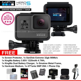 Harga GoPro Hero5 Black 4K Ultra HD Camera (Resmi IndoGP) + Screen Protector + SanDisk Extreme 32gb 90Mb/s + KingMa Battery 3.85V 1220mAh 4.7Wh + KingMa Dual Battery Charger 4.4V 750mAh + Smatree Metal Frame + ATTanta SMP-09A + Phone Clip + Medium Bag
