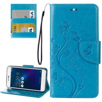 Harga For Asus Zenfone 3 Max and#8207;/ ZC520TL Butterflies Love Flowers Embossing Horizontal Flip Leather Case With Holder and Card Slots and Wallet and Lanyard(Blue) - intl