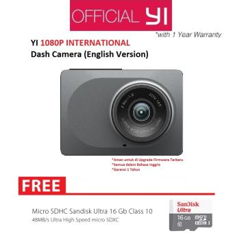 Harga Xiaomi Yi Smart Dash Camera Car DVR International Version + Sandisk Memory Card 16GB - Hitam