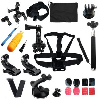 Harga SHOOT Action Camera Accessories Kit with Carrying Case + Chest Strap + Bicycle Bracket kit + Headban + Self Stick + Mount for GoPro SJCAM Xiaomi Yi Action Camera