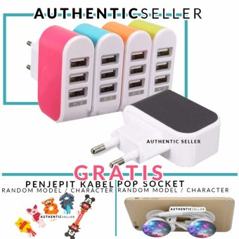 Harga Authentic Travel Charger 3 USB Port 3.1A - 2A / 2.1A / 1A non kabel for android / ios Gratis Pop Socket / Popsocket + Penjepit Kabel Karakter