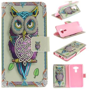 Harga Colorful Painting PU Leather Flip Stand Protective Case Cover with Card Slots / Cash Pocket Case Cover for Asus Zenfone 3 ZE520KL - intl