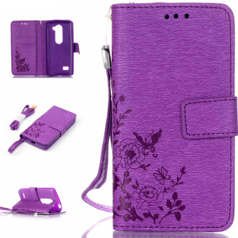 Harga Imprinted Flower Leather Phone Case for LG Leon H320 / Leon 4G LTE H340N (Purple) - intl