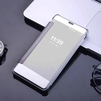 Harga Plating Mirror Surface PC Leather Cover for Xiaomi Redmi Note 3 / Note 3 Pro - Silver - intl