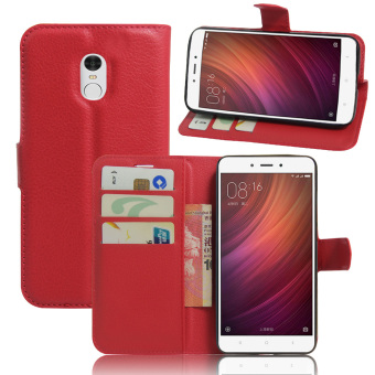 Harga PU Leather Wallet Case Cover For Xiaomi Redmi Note 4 (Red) - intl