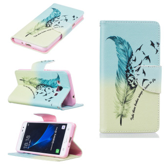 PU Leather Flip Magnet Wallet Stand Card Slots Case Cover for Samsung Galaxy J3 Pro (