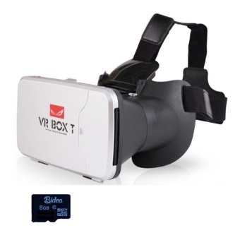 Harga VR BOX T +SDv02 with Capacitive Touch 3D VR Cardboard 2 + 8GB SD Card