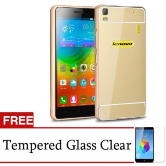 Harga Accessories Hp Metal Aluminium Bumper with Polycarbonate Backcase for Lenovo A7000+ Plus - Gold + Gratis Tempered Glass
