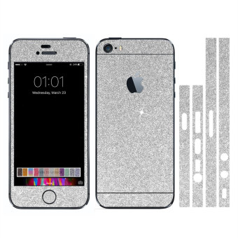 Harga Dull Polish Rhinestone Diamond Shining Bling Full Body Skin Sticker Front Back Glitter Cover Film for Apple iPhone 5 5S (Silver)