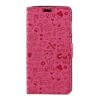 Harga Cartoon Graffiti PU Leather Case Wallet for Xiaomi Redmi Note 4 Phone Cases- Rose - intl